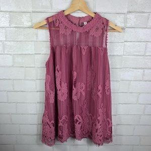 Xhiliration Lace High Neck Tunic